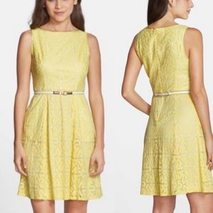 Adrianna Papell Yellow Lace Sleeveless Dress 8